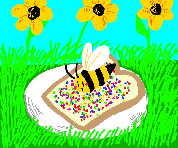 A bee on my fairy bread