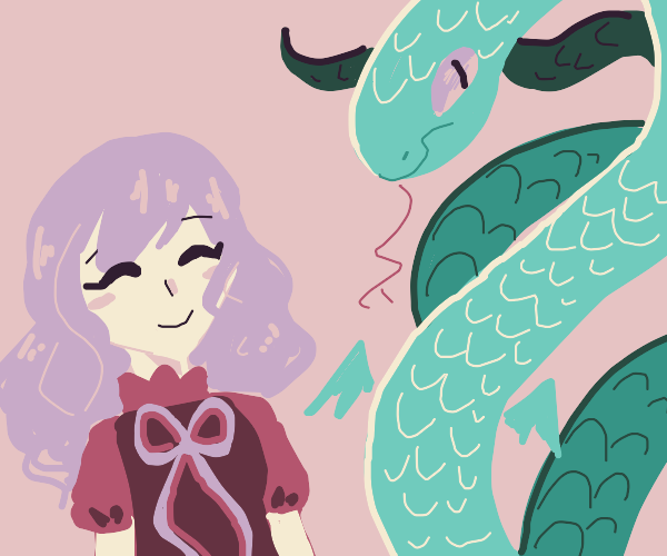 Serpentine monster next to a happy princess?