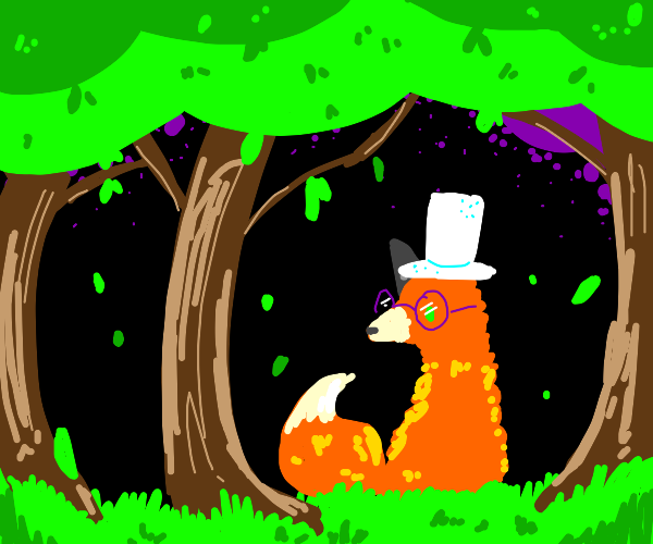 fox with glasses and snow hat in forest