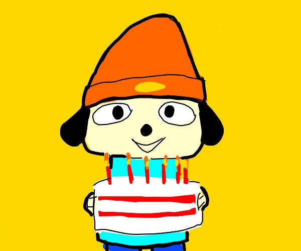 Parrapa The Rapper gets a cake