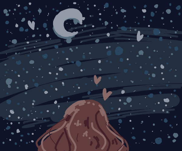 Person laying underneath stars
