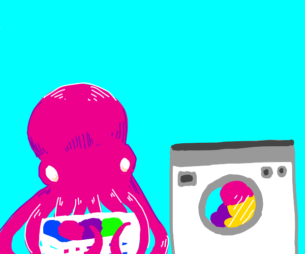 Octopus doing laundry
