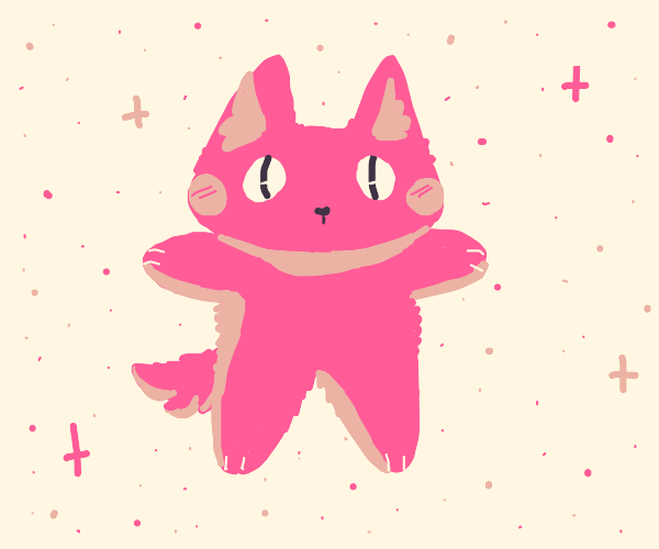 Pink dog with bulged out eyes T-posing