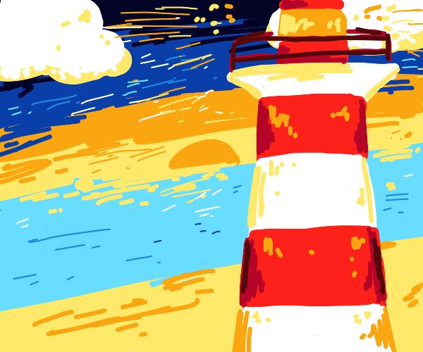 A lighthouse during dusk