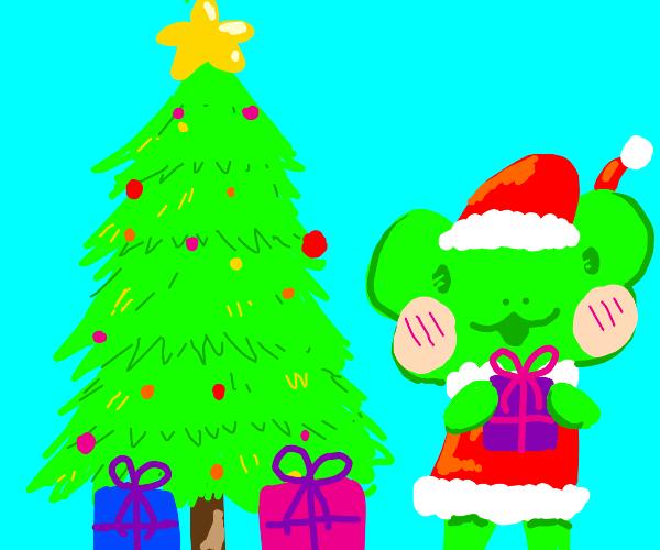 Santa frog/ Frog at christmas