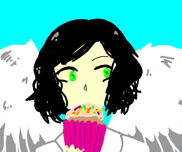 Angel offering cup cake