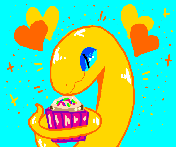 A happy snake eating a cupcake.