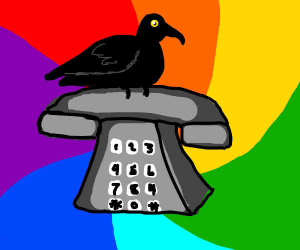 Feverdream of a crow standing on 1980s phone