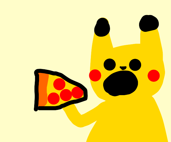 Pikachu eating a pizza