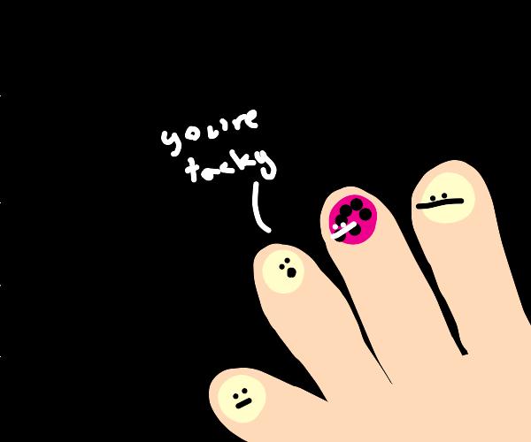 Tacky polka-dot fingernail