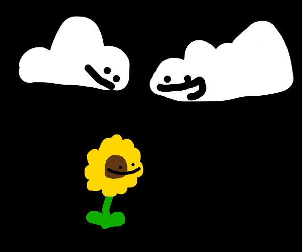 Flower and two Clouds