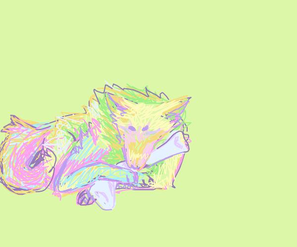 wolf chewing a bone