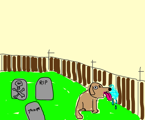 dog with one eye licking a fenc in a cemetary