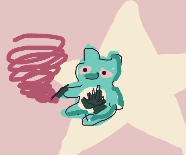 Marijuana Care Bear on a Star