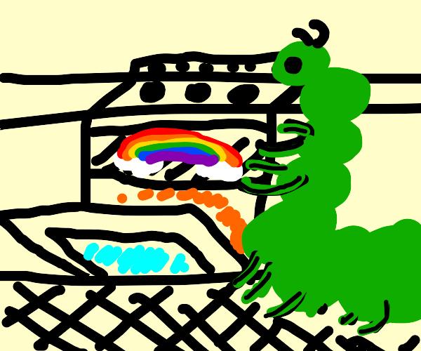 Caterpillar baking a Rainbow