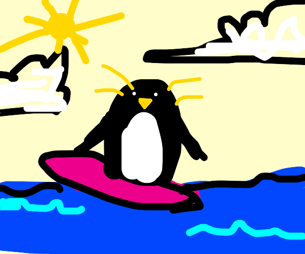 a penguin surfing