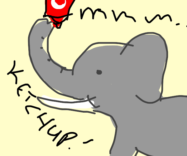 Elephant slurping tomato sauce from his trunk