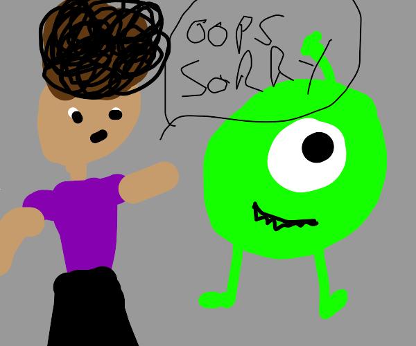 Afrohaired guy walks to green 1eyed monster