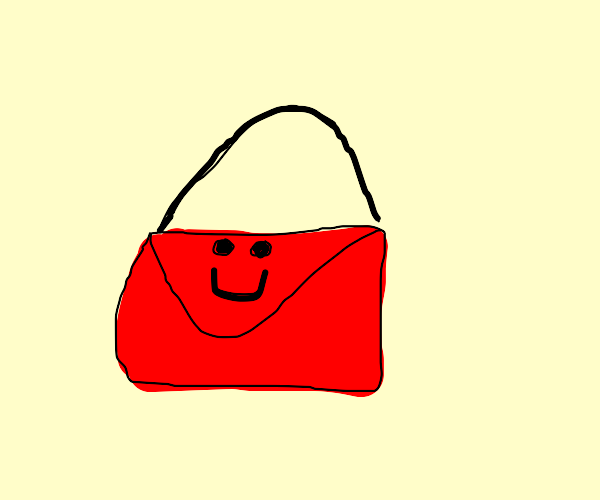 happy red handbag