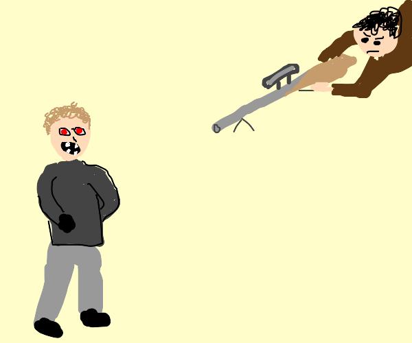 Man aiming rifle at man with red eyes 4 teeth