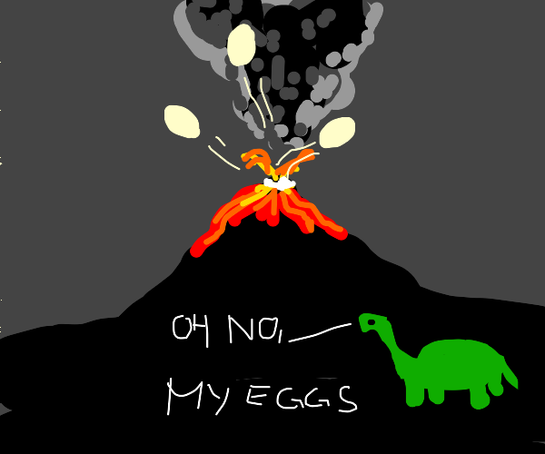 Dinosaur egg shooting out of set off volcano