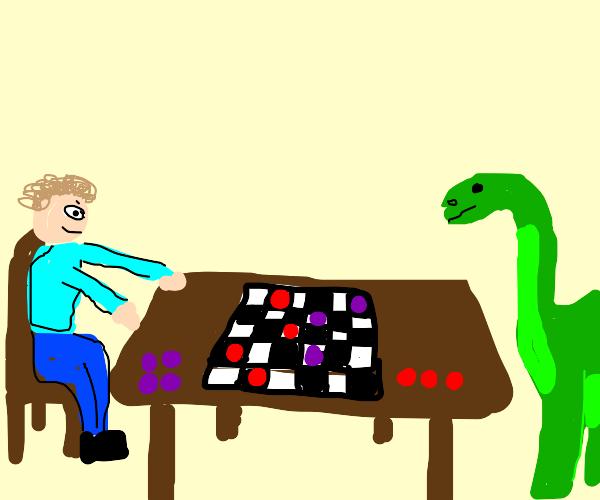 Someone playing w/ a dynosaur