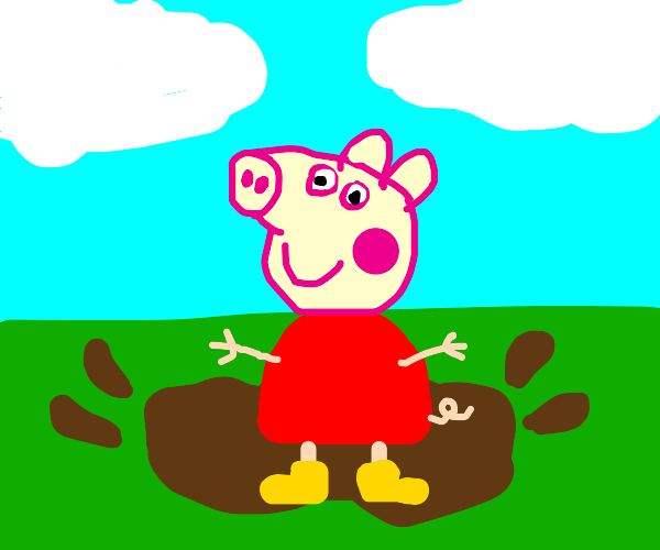 Pig steps in a puddle