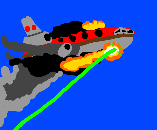 plane shot by laser beam