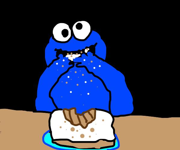 Monster eats cake