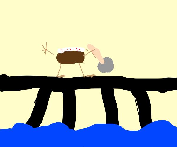 Cake digging into a Bridge