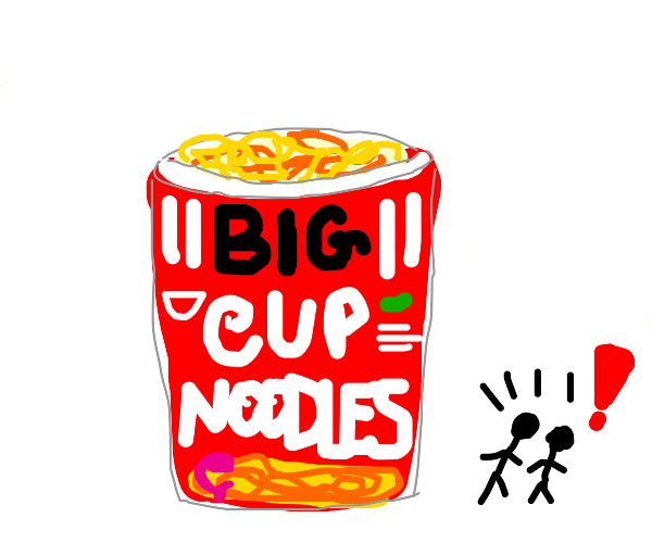 Worlds largest ramen cup & two small people