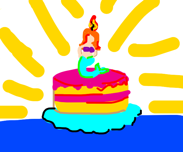 Cake with mermaid candle on top