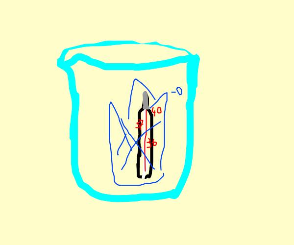 frozen thermometer in beaker