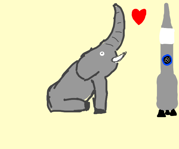 An elephant is in love with a rocket/crayon