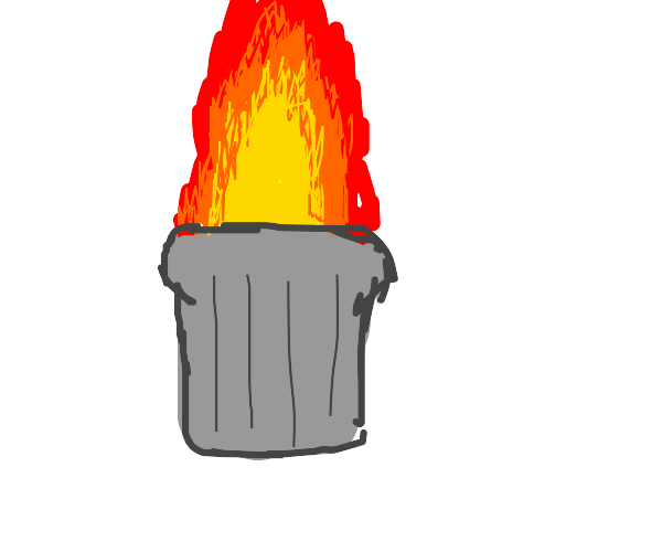 Trash can on fire