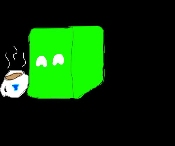 green box enjoys tea