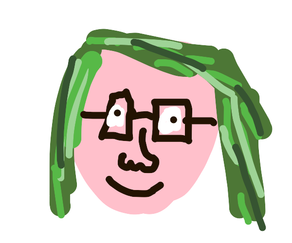Green haired girl with glasses