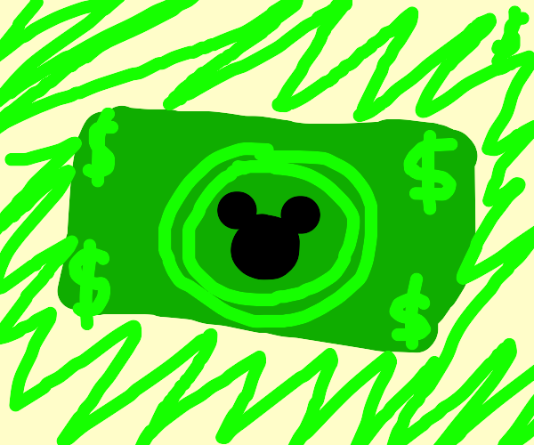 A dollar wih mickey mouse on it