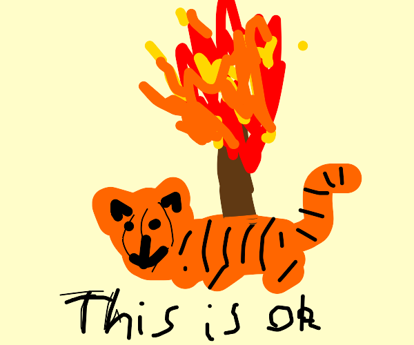 Tiger laying underneath a burning tree