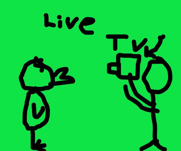 bird goes crazy on tv live