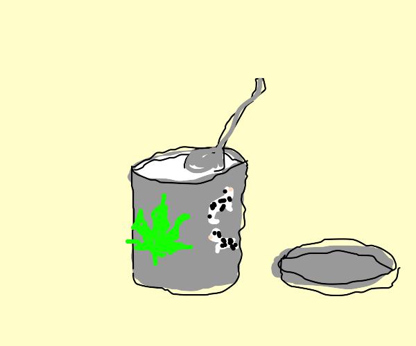 Eating Yogurt with a Weed