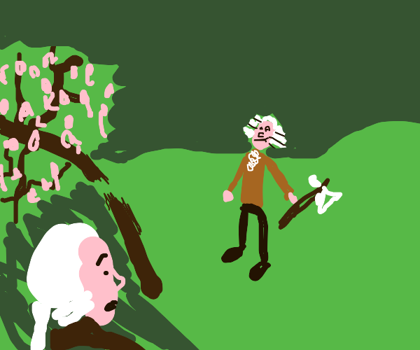 Young George Washington and the cherry tree