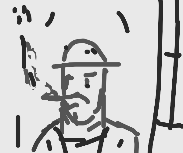 Guy with bowler hat smoking pipe