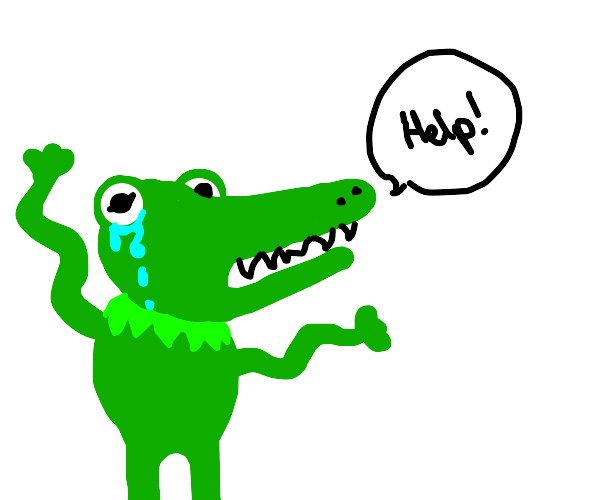 Kermit the frog opens crocodile jaws