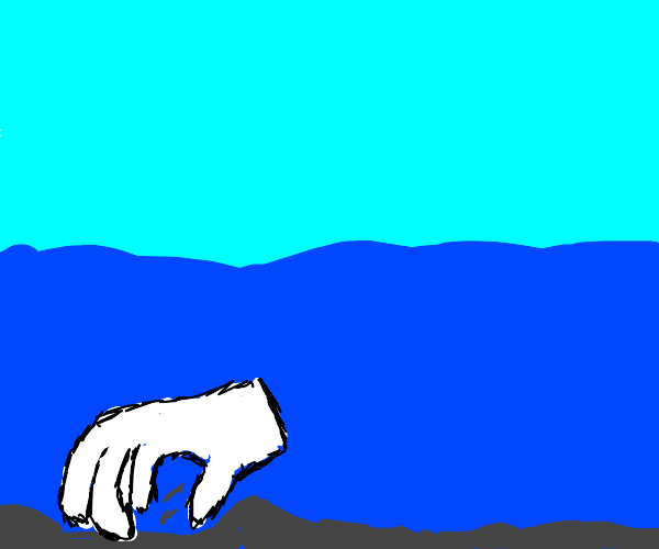 A Hand digging into the Ocean