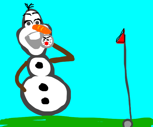 olaf eating a sentient golf ball