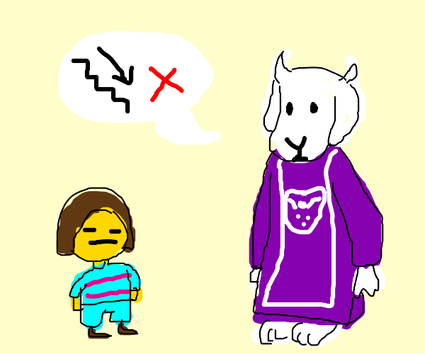 goat woman saying please avoid the stairs