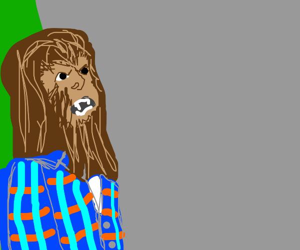 Werewolf wears a plaid shirt