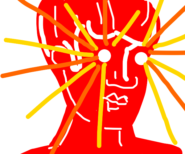 Red woman has lazer vision