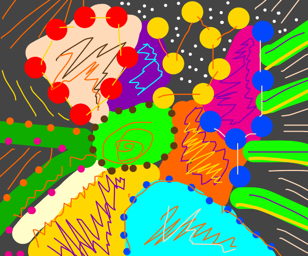 Abstract art. Mostly random shapes/colours